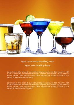 Strong Drinks Word Template, Cover Page, 04199, Food & Beverage — PoweredTemplate.com