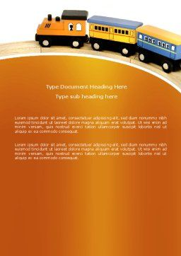 Toy Train Word Template, Cover Page, 04200, Cars/Transportation — PoweredTemplate.com