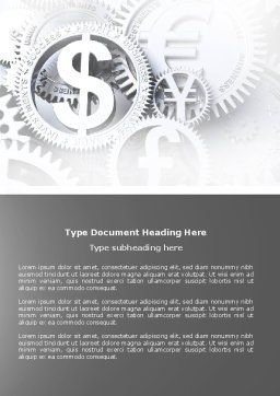 World Hard Currency Word Template, Cover Page, 04203, Financial/Accounting — PoweredTemplate.com