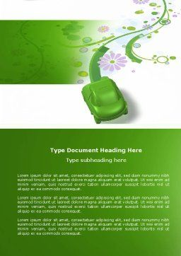 Green Car Word Template, Cover Page, 04204, Nature & Environment — PoweredTemplate.com