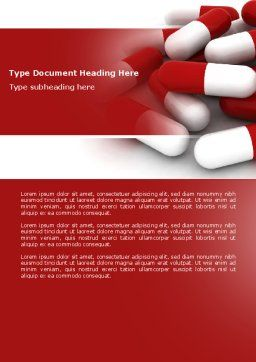 Red White Pills Word Template, Cover Page, 04208, Medical — PoweredTemplate.com