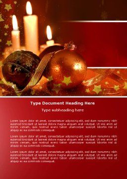 Christmas Decorations And Candles Word Template, Cover Page, 04211, Holiday/Special Occasion — PoweredTemplate.com