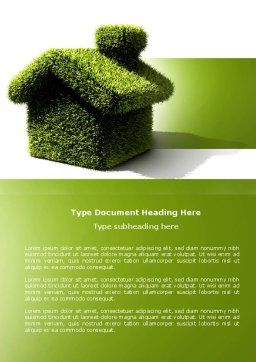 Green House Word Template, Cover Page, 04215, Nature & Environment — PoweredTemplate.com