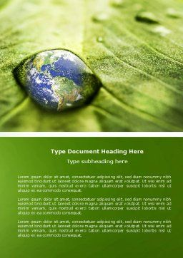 Water Drop Word Template, Cover Page, 04223, Nature & Environment — PoweredTemplate.com