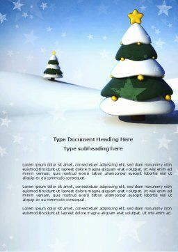 Christmas Tree On The Blue Snow Word Template, Cover Page, 04231, Holiday/Special Occasion — PoweredTemplate.com