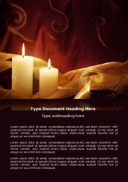 Candle Light Word Template, Cover Page, 04239, Religious/Spiritual — PoweredTemplate.com