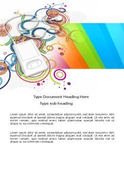 Mp3 Player On Colored Background Word Template Cover Page