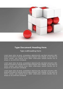 Cubic Structure Word Template, Cover Page, 04243, Construction — PoweredTemplate.com