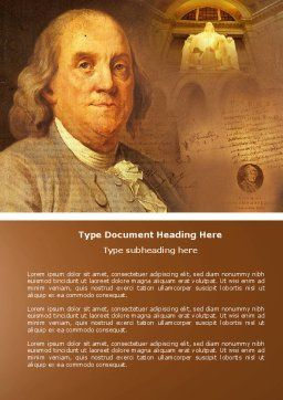 Benjamin Franklin Word Template, Cover Page, 04247, Education & Training — PoweredTemplate.com