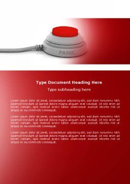 Panic Button Word Template, Cover Page, 04259, General — PoweredTemplate.com