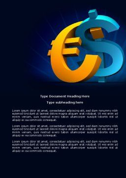 Euro vs. Dollar Word Template, Cover Page, 04268, Financial/Accounting — PoweredTemplate.com