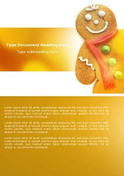 Gingerbread Man Word Template, Cover Page, 04276, Holiday/Special Occasion — PoweredTemplate.com