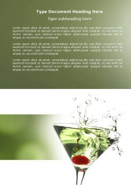 Martini Drink Word Template, Cover Page, 04280, Food & Beverage — PoweredTemplate.com