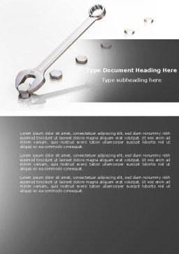 Line Of Bolts Word Template, Cover Page, 04293, Utilities/Industrial — PoweredTemplate.com