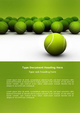 Tennis Balls Word Template, Cover Page, 04296, Sports — PoweredTemplate.com