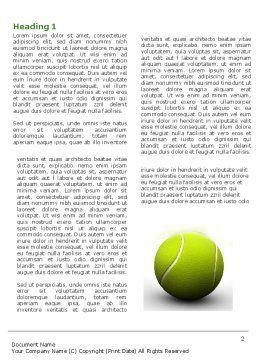 Tennis Balls Word Template, First Inner Page, 04296, Sports — PoweredTemplate.com