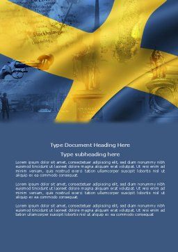 Sweden Word Template, Cover Page, 04305, Flags/International — PoweredTemplate.com