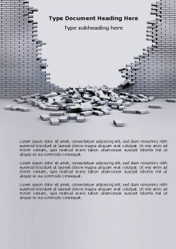 Broken Wall Word Template, Cover Page, 04351, Consulting — PoweredTemplate.com