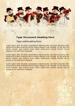 Snowmen Orchestra Word Template, Cover Page, 04354, Holiday/Special Occasion — PoweredTemplate.com