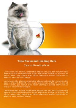 Cat and Fish Word Template, Cover Page, 04357, Business Concepts — PoweredTemplate.com