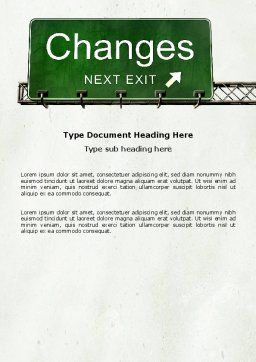 Sign Change Word Template, Cover Page, 04371, Business Concepts — PoweredTemplate.com