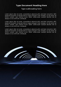 Dark Tunnel Word Template, Cover Page, 04389, Construction — PoweredTemplate.com