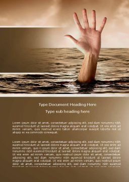 Drowning Word Template, Cover Page, 04407, Consulting — PoweredTemplate.com