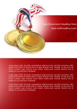 Medal Word Template, Cover Page, 04414, Sports — PoweredTemplate.com