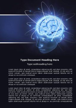 Brain Waves Word Template, Cover Page, 04437, Medical — PoweredTemplate.com
