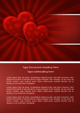 Red Hearts Word Template, Cover Page, 04444, Holiday/Special Occasion — PoweredTemplate.com