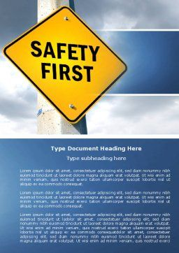 Safety First Word Template Cover Page