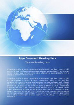Blue Globe Word Template Cover Page