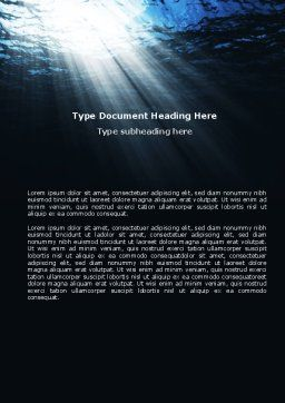 Deep Waters Word Template, Cover Page, 04488, Nature & Environment — PoweredTemplate.com