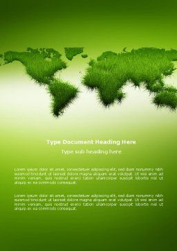 Green Grass of World Word Template Cover Page