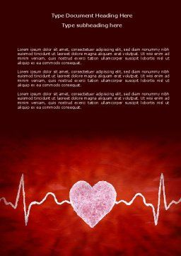 Heartbeat Word Template, Cover Page, 04504, Medical — PoweredTemplate.com