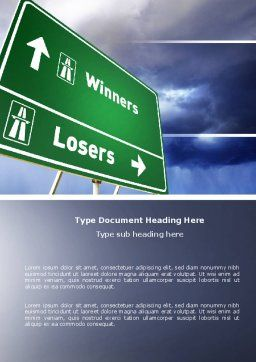 Losers and Winners Word Template, Cover Page, 04530, Consulting — PoweredTemplate.com