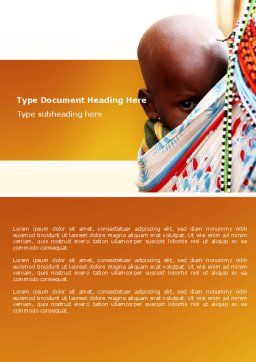 African Baby Word Template, Cover Page, 04531, People — PoweredTemplate.com