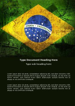 Brazilian Flag With Brazilian Silhouettes Word Template, Cover Page, 04538, Flags/International — PoweredTemplate.com