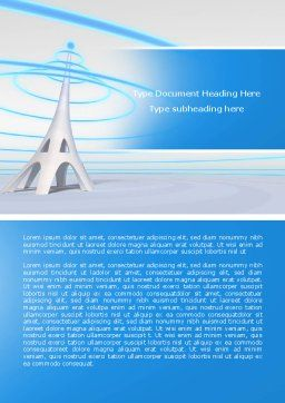 Television Tower Word Template, Cover Page, 04548, Telecommunication — PoweredTemplate.com