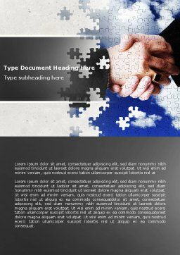 Puzzle Of Partnership Word Template, Cover Page, 04550, Business — PoweredTemplate.com