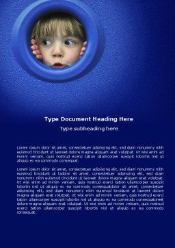 Kid Looking In Porthole Word Template, Cover Page, 04566, People — PoweredTemplate.com