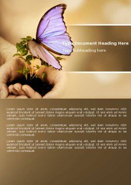 Butterfly In Your Hands Word Template Cover Page