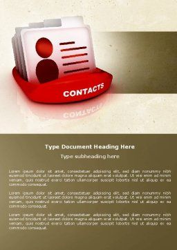 Contacts List Word Template, Cover Page, 04568, Consulting — PoweredTemplate.com