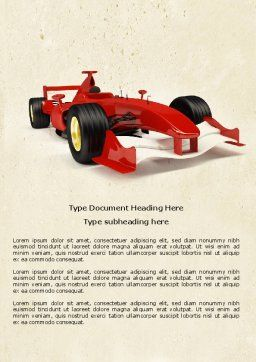 Formula One Car Word Template, Cover Page, 04571, Sports — PoweredTemplate.com