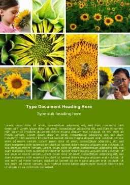 Sunflower Collage Word Template Cover Page
