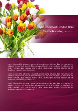 Tulips On A Purple Background Word Template, Cover Page, 04614, Holiday/Special Occasion — PoweredTemplate.com