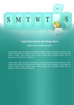 Medication Dosage Word Template, Cover Page, 04625, Medical — PoweredTemplate.com