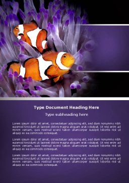 Clown Fish Word Template, Cover Page, 04626, Nature & Environment — PoweredTemplate.com