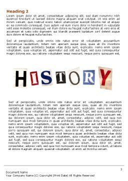 History Lesson Word Template Second Inner Page