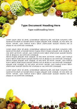 Fruit Profusion Word Template, Cover Page, 04634, Agriculture and Animals — PoweredTemplate.com
